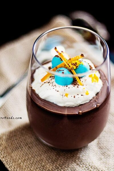 Chocolate Pots de Creme with Easter Eggs and Whipped cream