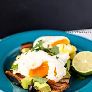 Poached Eggs with Avocado and Spicy Lime Sauce