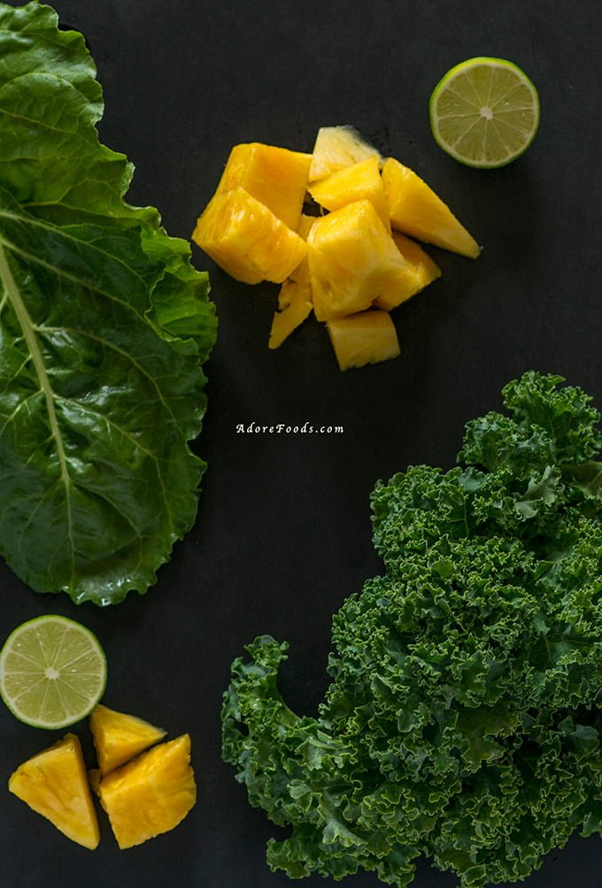 Ingredients for Pineapple and Kale Juice