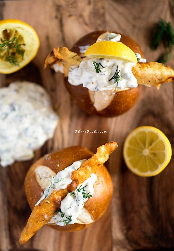 Dutch Lekkerbekjes - deep fried fish in a bun with tartare sauce