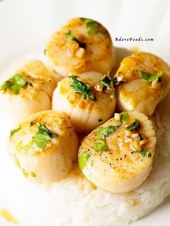 Easy and quick perfectly seared Portuguese Scallops with lemon, garlic and port wine reduction sauce recipe served with cooked rice.