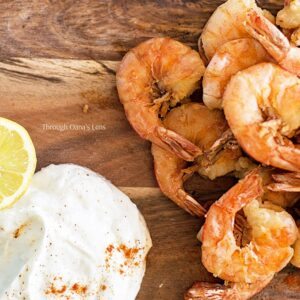 Greek fried chili prawns with garlic and lemon yogurt