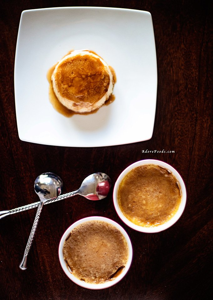 Argentinian Caramel Flans view from top