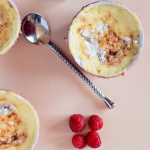 French Rhubarb and Raspberry Gratin