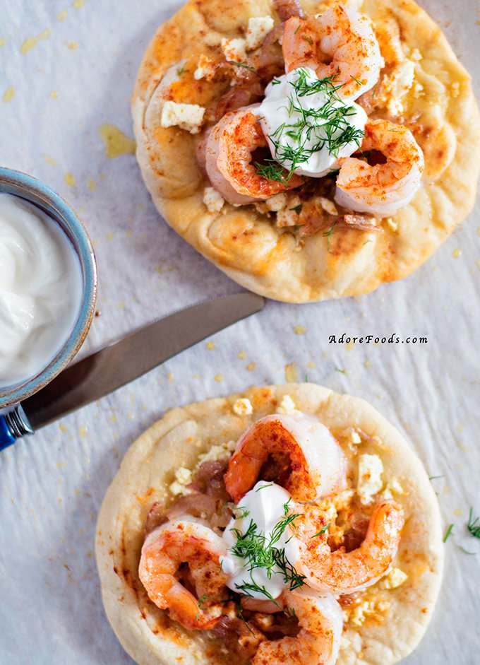 Greek Pizza with prawns and caramelized onions