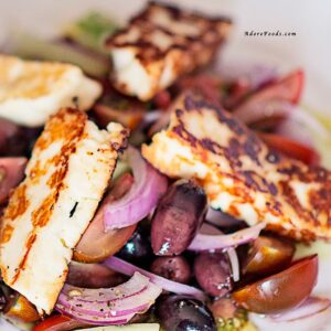 Quick Greek Salad with Pan-Fried Halloumi