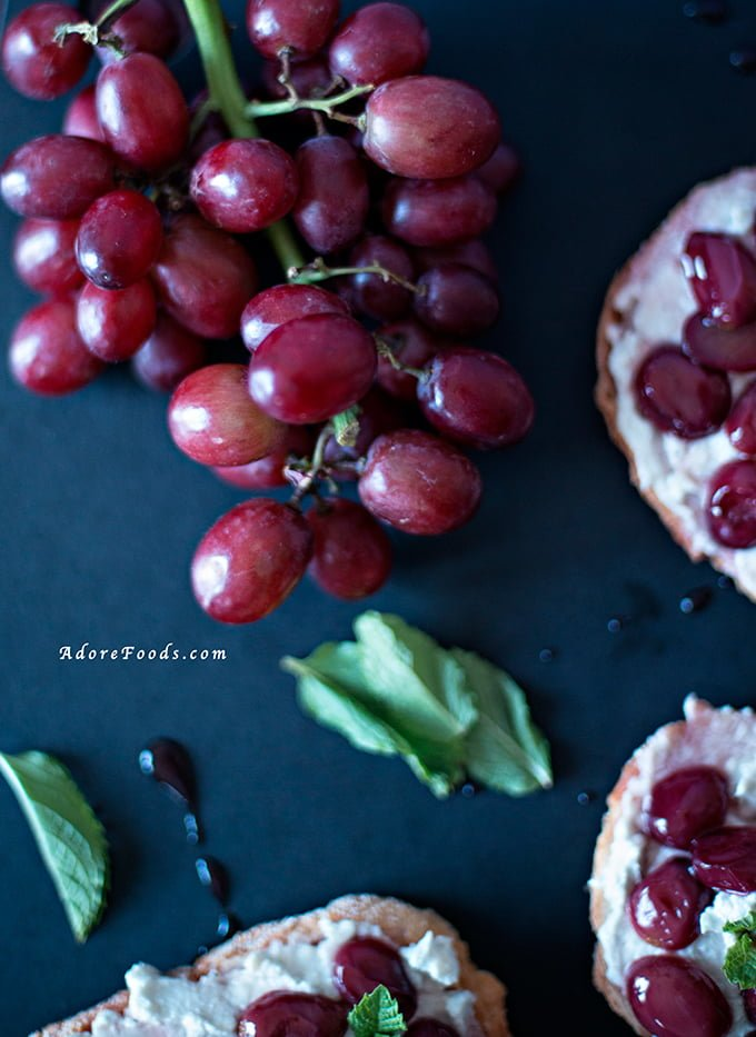 Grape and Blue Cheese Crostini
