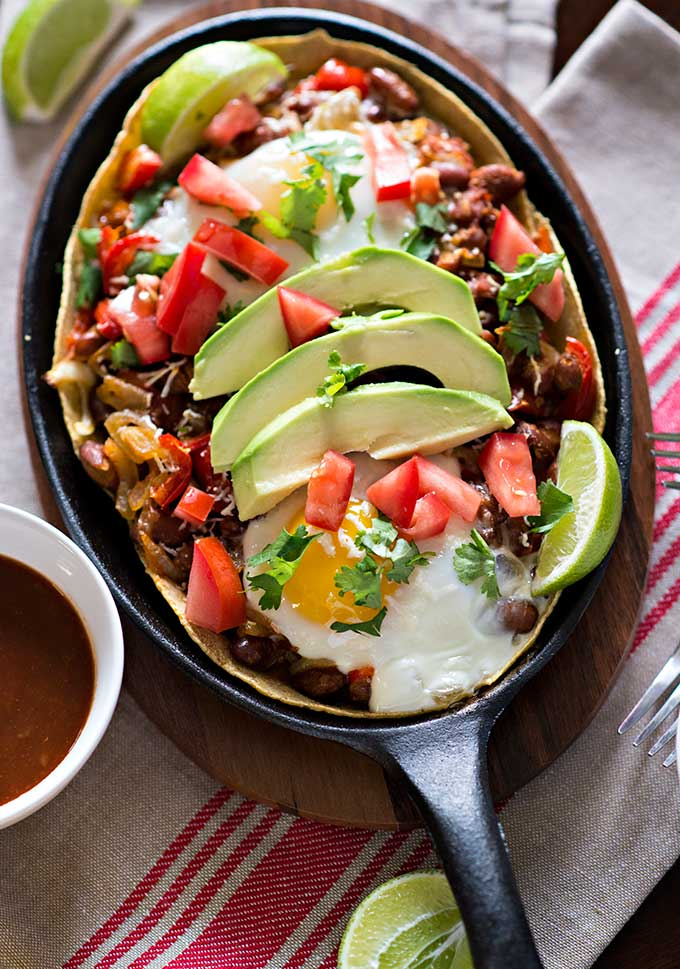 close up Mexican Huevos Rancheros recipe