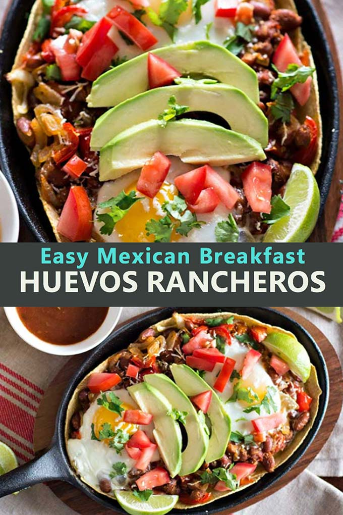 Best Huevos Rancheros recipe, an authentic Mexican breakfast dish with eggs and beans on tortillas, easy to make. #huevosrancheros #mexicanrecipe