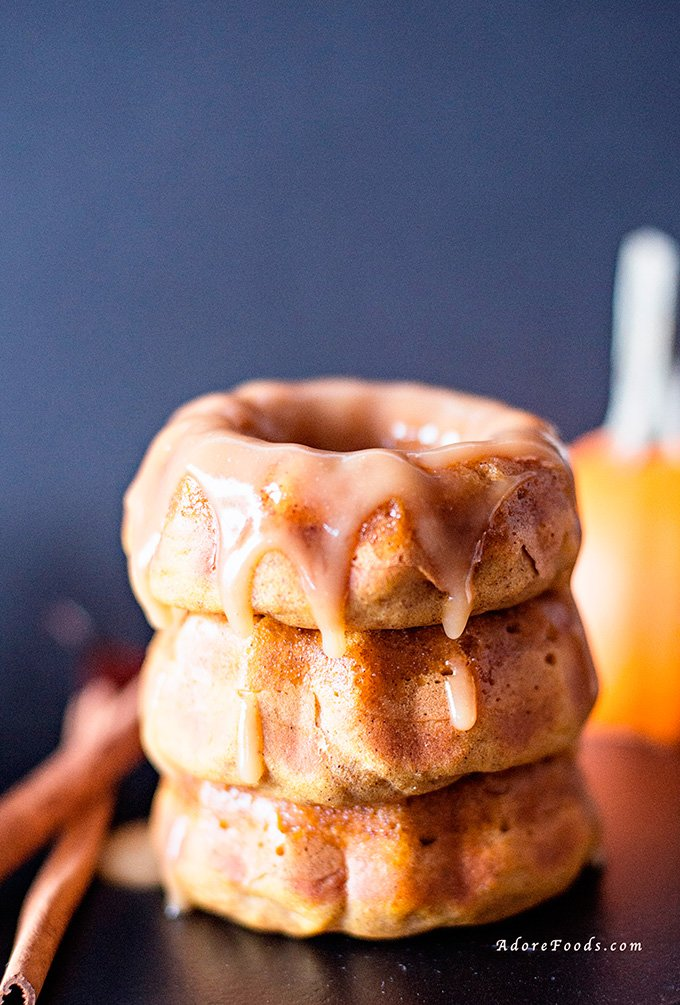 Pumpkin Mini Bundt Cakes with Apple Cider Sauce
