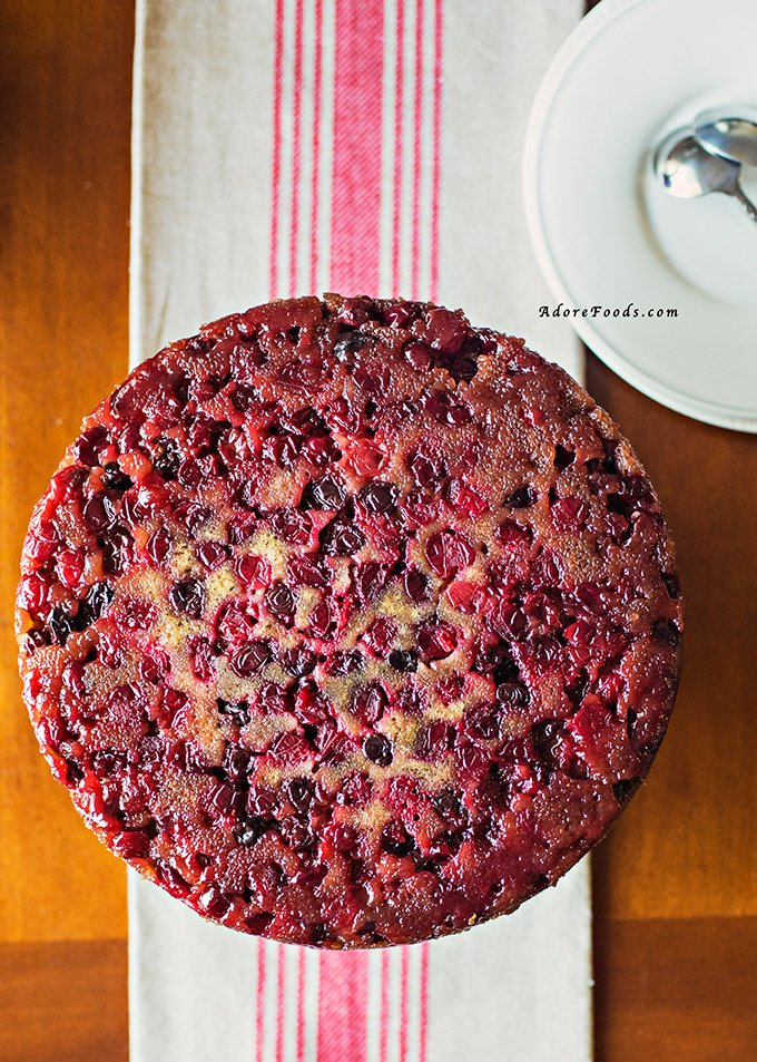 Bourbon Cranberry Upside Down Cake