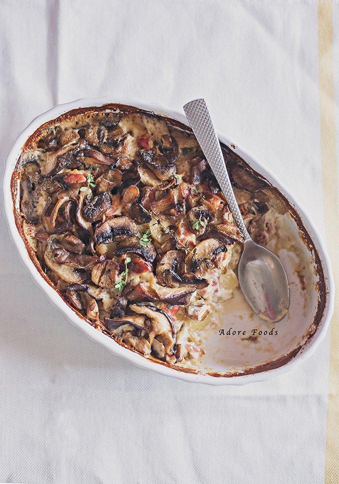 ... Mushroom, Potato and Pancetta gratin rich, creamy and bursting with