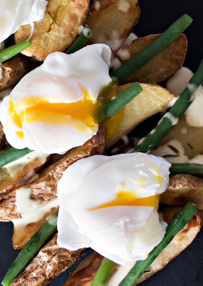 Roasted Fingerling Potatoes with Poached Eggs and Mustard Mayo