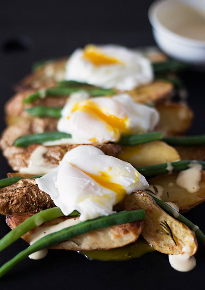 Roasted Fingerling Potatoes with Poached Eggs and Mustard Mayo | Adore ...
