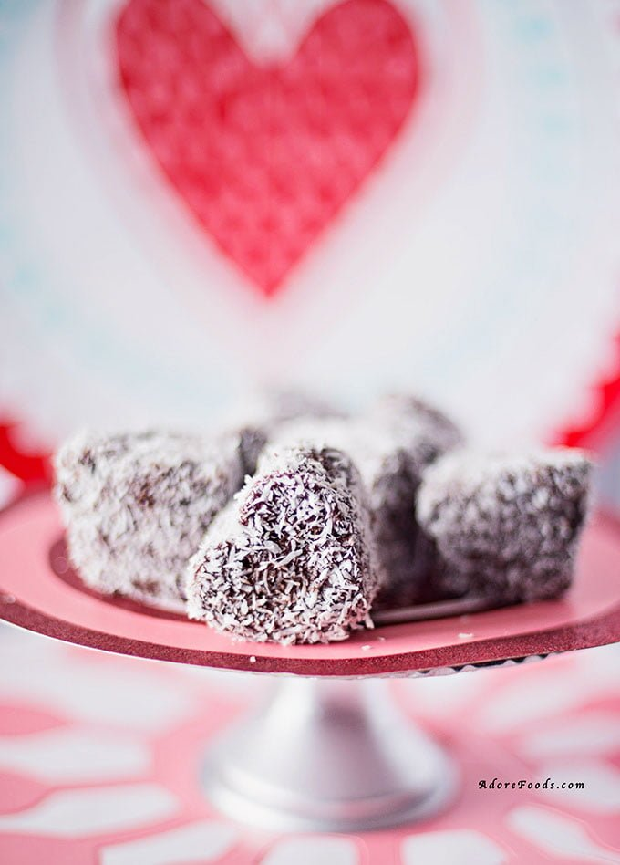 Heart shaped Mini Lamingtons without jam on serving plate