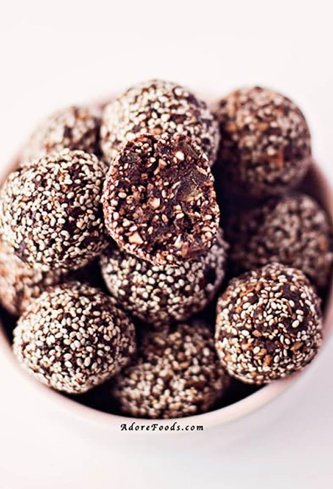 cacao chia seeds energy balls