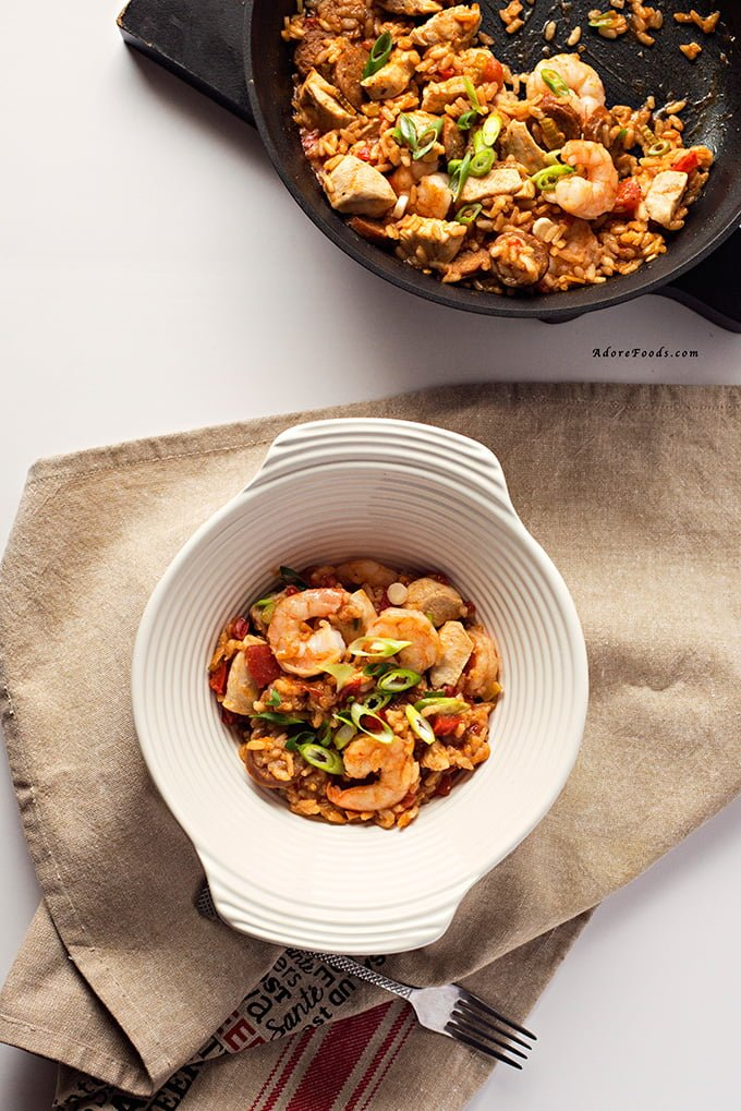 Creole Shrimp, Chicken and Sausage Red Jambalaya