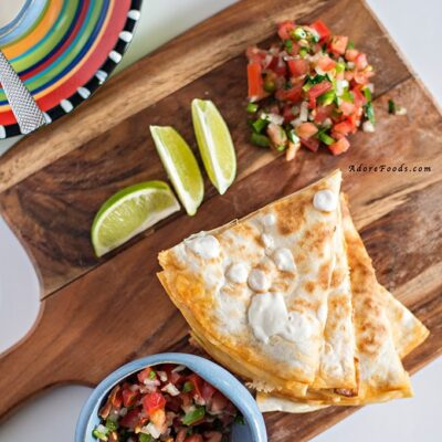 Chorizo and Shrimp Quesadillas