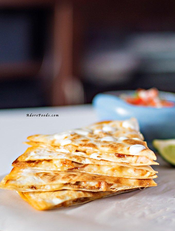 Quick And Cheesy Chorizo And Shrimp Quesadillas
