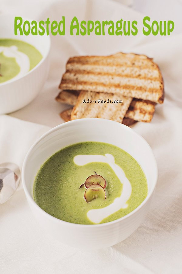 Creamy Roasted Asparagus Soup. This soup screams spring and it is soooo good! The perfect way to highlight asparagus. It comes together quickly and you only need a couple of ingredients: asparagus, chicken broth, olive oil, lemon zest and...some grapes #roastedasparagus