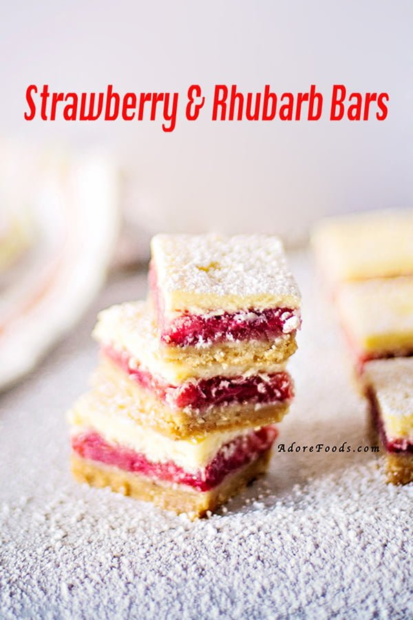 Easy Strawberry and Rhubarb Bars Recipe. Three layers of deliciousness: a crunchy base topped with a generous layer of sweet, fresh strawberries and rhubarb filling and finished off with a thick cream cheese batter. #strawberrybars #easydessert
