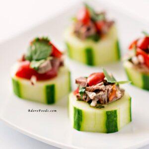 Thai beef salad cucumber bites appetizers