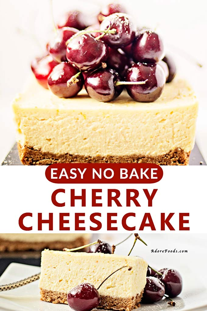 easy no bake cheesecake with fresh cherries