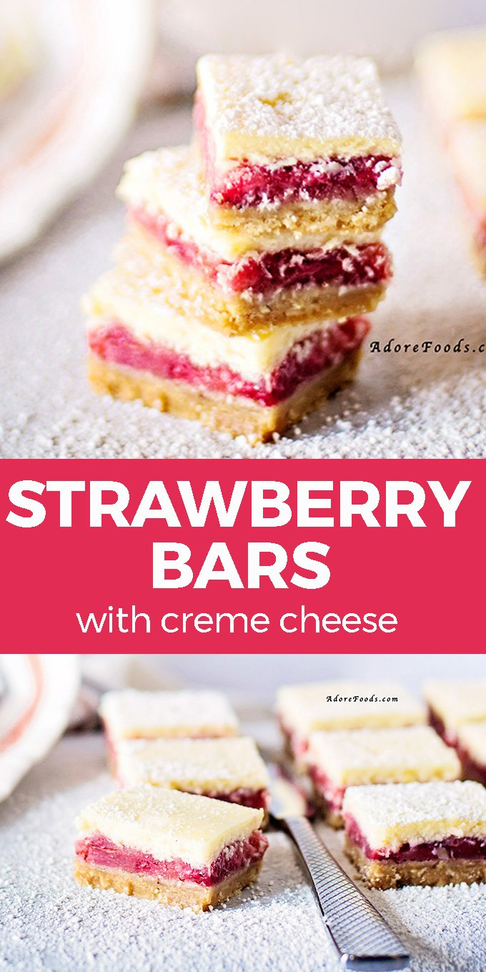 Easy Strawberry Bars recipe with crumbly crust and cream cheese frosting are the perfect sweet treat! One of my favorite summer desserts, this homemade cake recipe is made from scratch, using fresh or frozen strawberries and no cake mix #strawberrybars