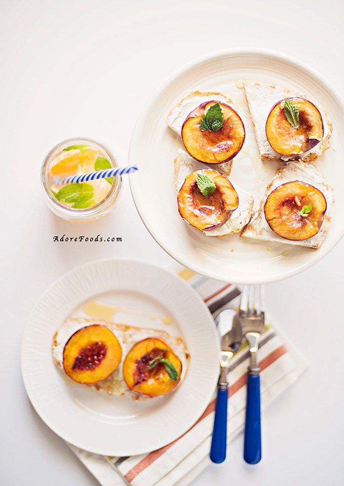 Juicy Roasted Nectarine Breakfast Bruschetta