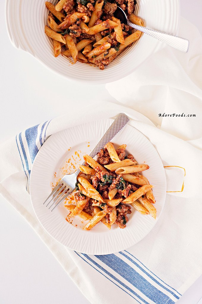 Easy Italian Sausage Penne Pasta and Kale Recipe