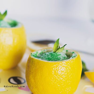 Quick Lemon Mint Sorbet