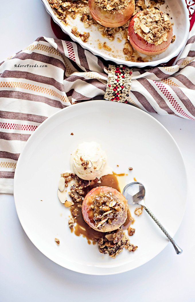 Apple Crisp Stuffed Baked Apples with Butterscotch Sauce