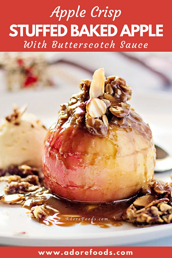 Stuffed Baked Apple topped with oats and butterscotch sauce