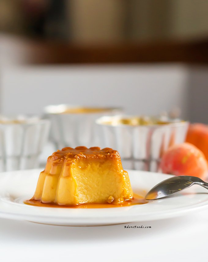 Pumpkin Flan on a plate showing creamy inside