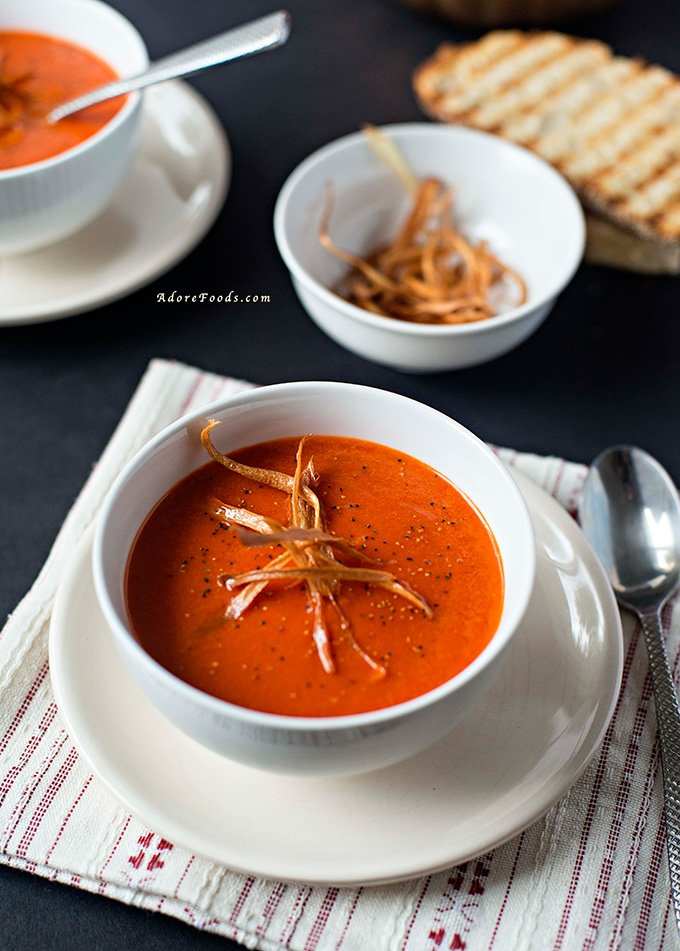 This creamy roasted red pepper soup is quick and easy to put together with the main ingredient being bell peppers. Silky and hearty, it is ideal for dunking bits of bread or sandwiches!