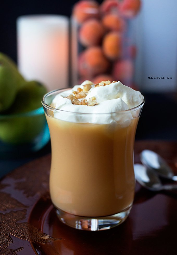Pear nectar and brandy warmer