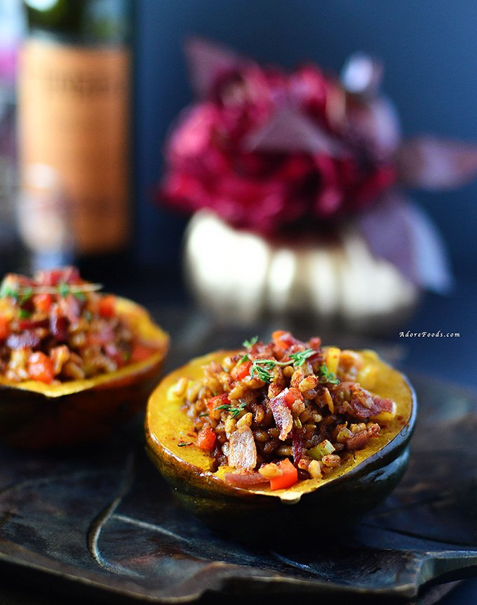 Roasted Acorn Squash Stuffed with Farro and Bacon