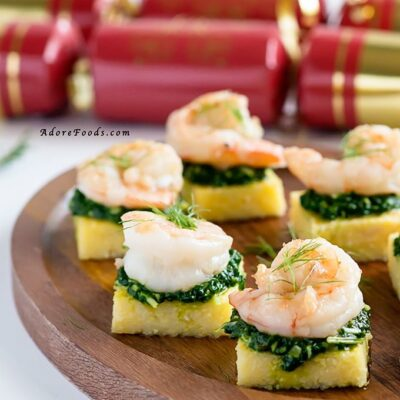 Polenta Squares with Garlic Shrimp and Spinach Pesto