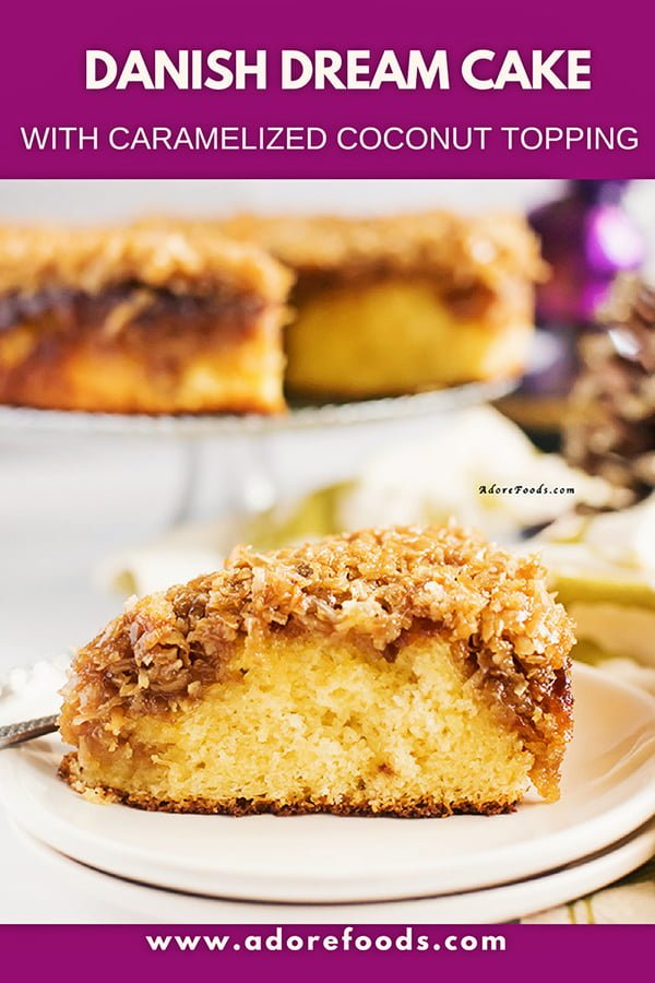 This traditional Danish Dream Cake is so perfect! Airy, moist sponge cake topped with crunchy caramelized coconut. #danishcake #teacake #spongecake #cakerecipe