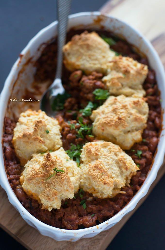 One pot chili con carne with polenta cobbler crust