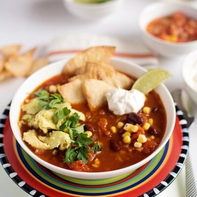 Mexican tortilla soup with avocado and tomato salsa