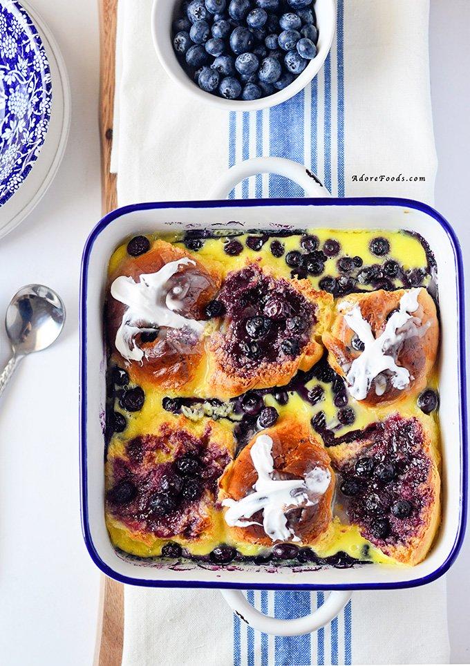 Blueberry Hot Cross Bun Bread Pudding