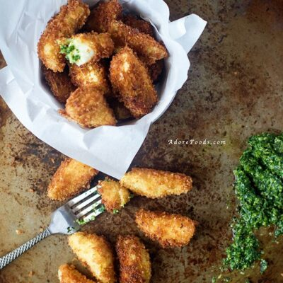 Crispy fried artichokes hearts with salsa verde