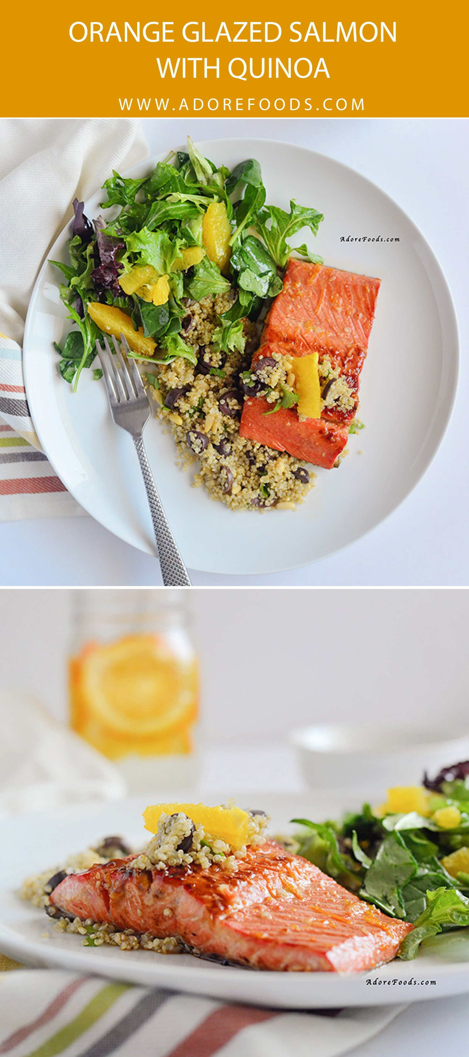 Perfect weeknight dinner recipe! 30 minute orange glazed salmon served with quinoa and spring green and citrus salad