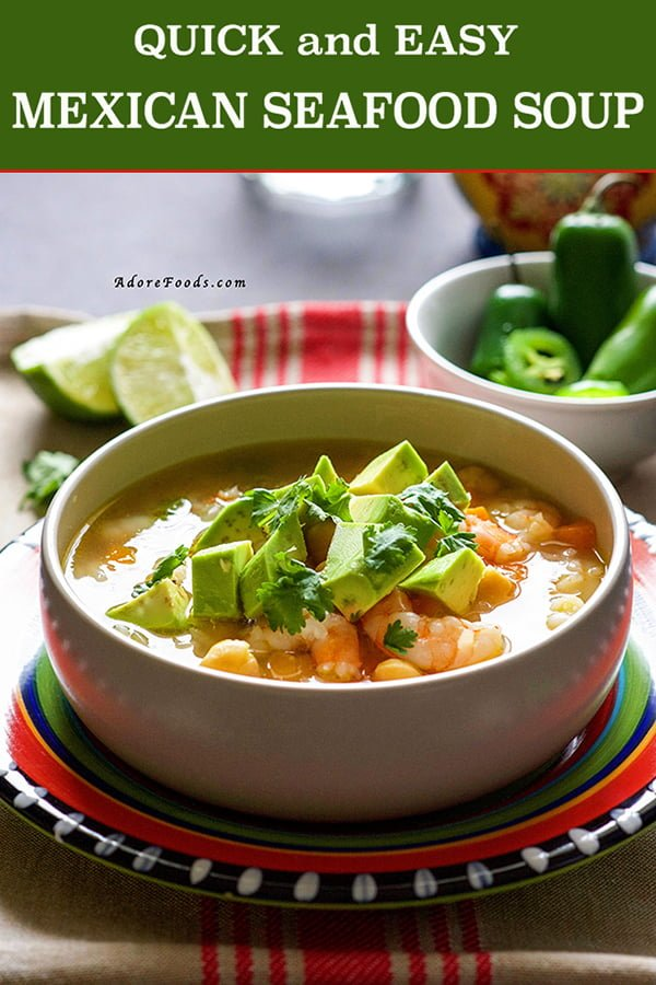 This Mexican Seafood soup is fantastic! Authentic Mexican flavors, tender shrimp (prawn) pieces, carrots and beans, everything combined in a spicy broth, ready to be served in just 30 minutes.