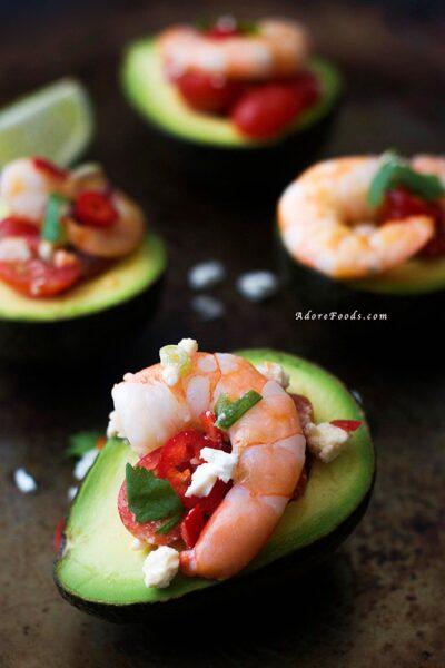 Greek Shrimp Salad Stuffed Avocado
