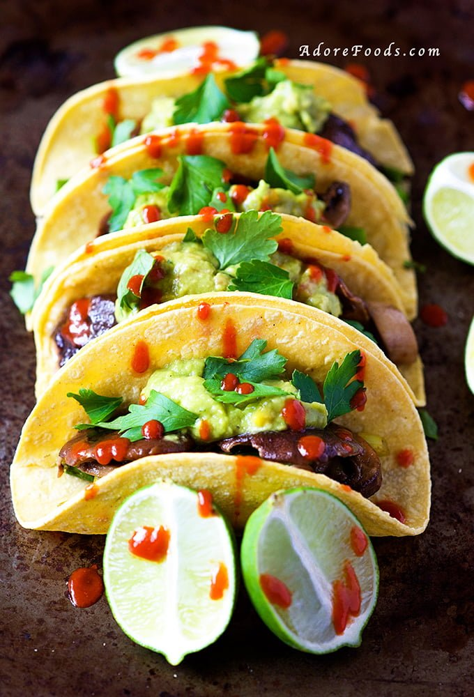 Mushroom and Asparagus Tacos with Guacamole and Sriracha Sauce