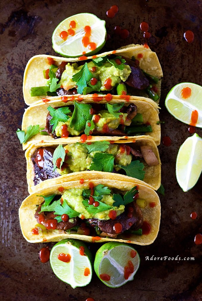 Veggie Tacos with Guacamole and Sriracha Sauce