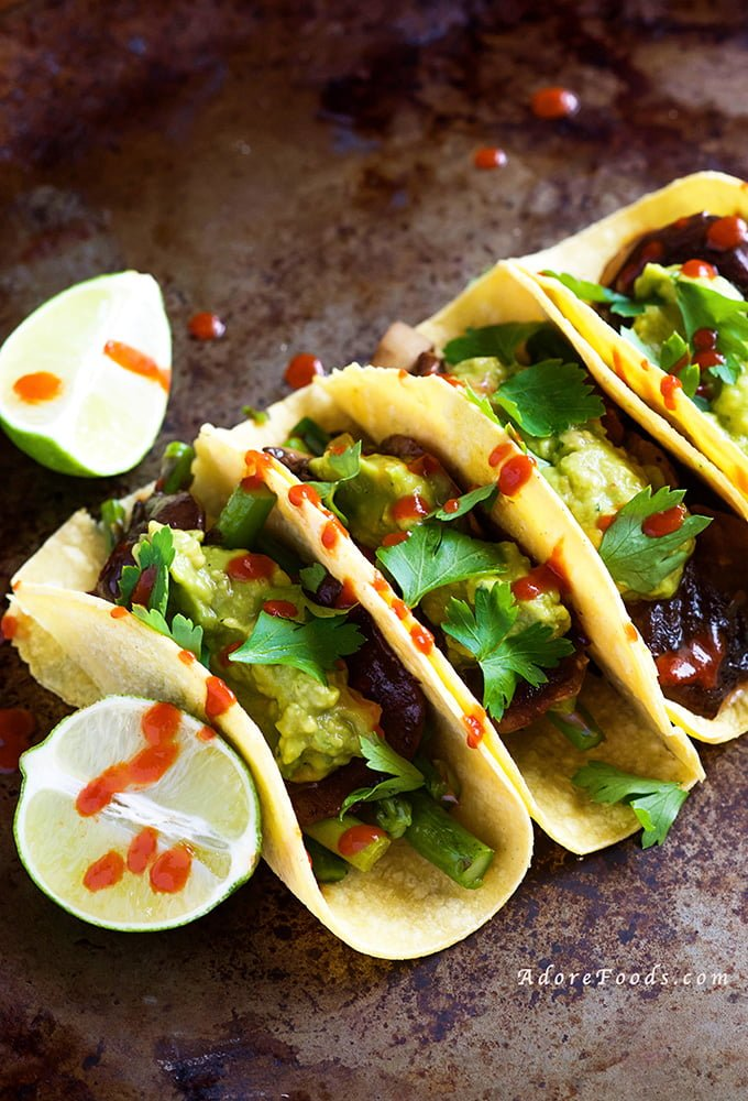 Veggie Tacos with Guacamole and Sriracha Sauce