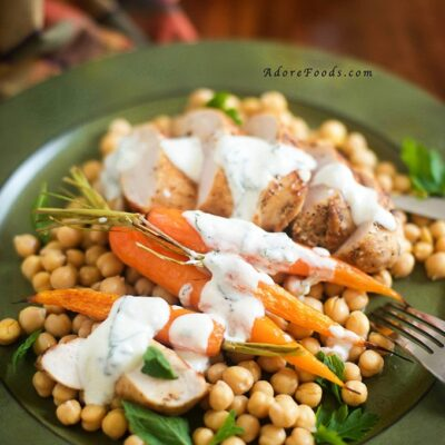 Pan fried Chicken with Roasted Carrots and Chickpeas
